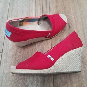 TOMS Peep Toe Canvas Wedge Espadrille Red 8